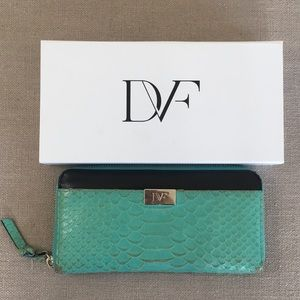 Diane von Furstenberg Python Zip Around Wallet